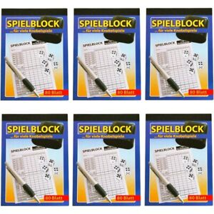 6x-Spielblock-Knobelblock-Knobel-Wuerfel-Block-fuer-viele-Knobelspiele-80-Blatt
