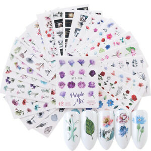 les-fleurs-d-039-eau-nail-art-autocollants-aquarelle-des-vignettes-de-transfert