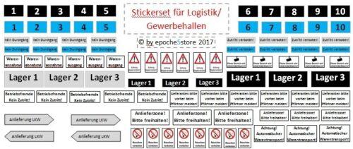 Stickerset Pour Centre De Logistique/Industrie Halle/Industrie HALLE HO 1:87 auto-adhésif