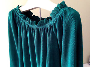 NEW-J-O-A-Just-One-Answer-Designer-Emerald-Green-Wide-Neck-Flare-Blouse-S-85