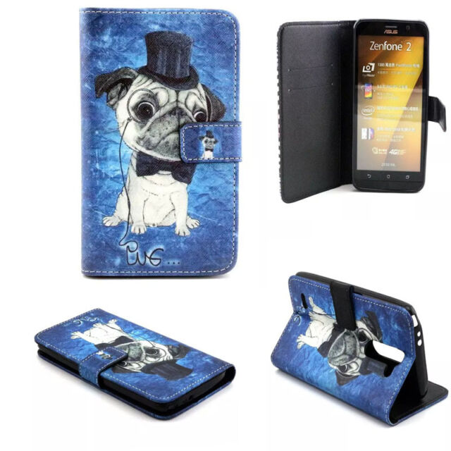 Magnetic PU Leather Flip Card Stand Cute Pug Case Cover For Samsung Galaxy Phone