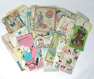 1950's Greeting Cards LOT 120+pc BABY BOY Wallace Brown Hallmark USED Vintage