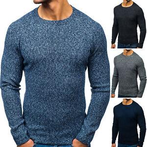Pullover Sweater Strickjacke Strickpullover Pulli Rundhals Herren BOLF 5E5 Basic