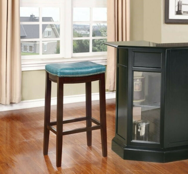 "32"" Lindon Bar Stole Claridge Blue Teal Brown wood finish legs"