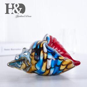 Hand-Blown-Glass-Murano-Art-Style-Rainbow-Seashell-Conch-Sculpture-Ocean-Decor