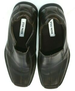 Steve-Madden-Mens-Size-12-Dark-Brown-Leather-Slip-On-Loafers-Dress-Shoes
