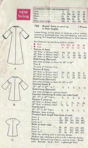 1360 1968 Vintage Vogue Sewing Pattern B38 Vestido Caftan cover-up