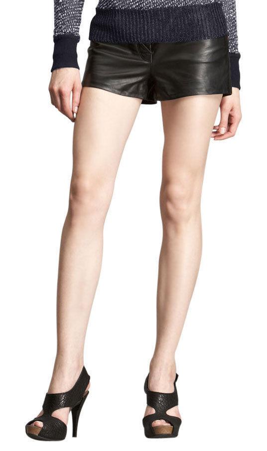 Women's Genuine Lambskin Leather Gym Shorts Designer Club Party Wear Pants LS09