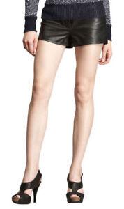 Ladies Genuine Leather Black Mini Sexy Short Club Cocktail Party Wear Pants LS09
