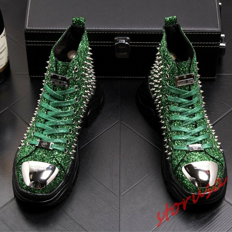 Gliiter High Top Nightclub shoes Mens Lace Up Rivet Punk Rock shoes Ankle Boots