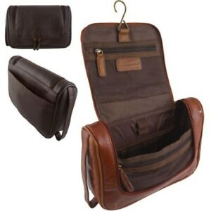 Image Is Loading Mens Las Genuine Real Quality Leather Toiletry Wash