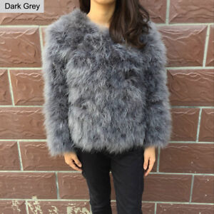 5aed8589b0f Women Real Ostrich Feather Fur Coat Jacket Winter Outwear Cropped ...