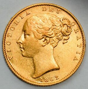 LUSTROUS & WELL DEFINED 1862 Queen Victoria Young Head Shield Gold Sovereign