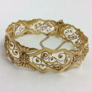 Image Is Loading 18k Yellow Gold Filigree Bangle Bracelet