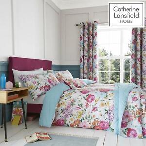 Catherine-Lansfield-biancheria-da-letto-Salisbury-Copripiumino-Set-Tende-Cuscino-Copriletto