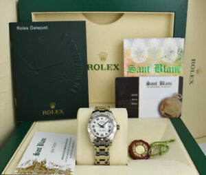 ROLEX Ladies 29mm 18kt White Gold Pearlmaster White Roman Dial 80319 SANT BLANC