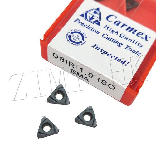5PC 08IR 1.0ISO BMA Carmex blade Profile 60° Carbide Threading Inserts 1.0ISO