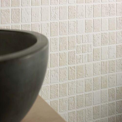 Contour Earthen Tile Effect Kitchen Bathroom Beige Wallpaper