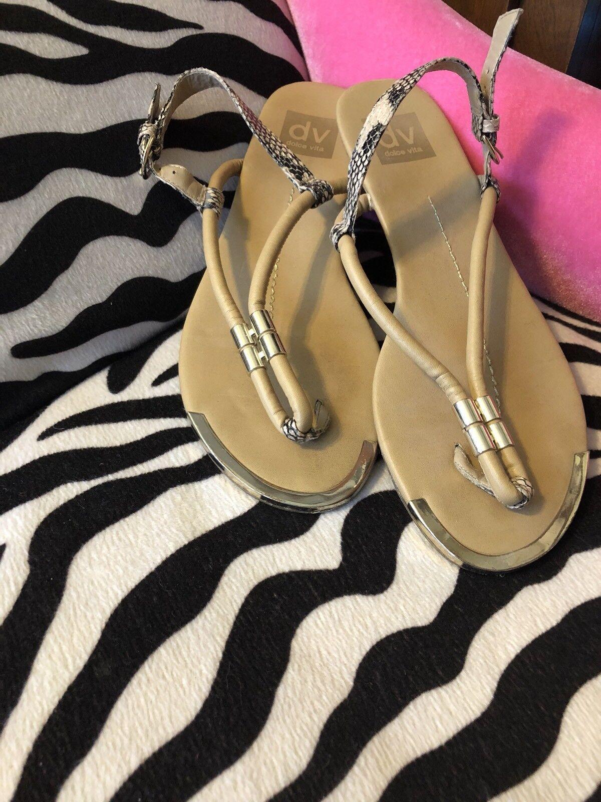 Dolce Vita Womens Tan Thong Snake Sandals w Gold Detail Snake Thong Skin Heel Strap 8.5 afaba6