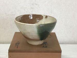 Y1477-CHAWAN-Oribe-ware-signed-box-Japanese-bowl-pottery-Japan-tea-ceremony