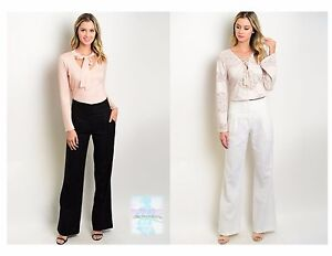 Fashion-Women-High-Waist-Trouser-Dressy-Pants-Wide-Leg-Silhouette-Assorted