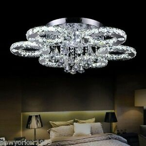 Image Is Loading LARGE Modern Crystal Pendant Light Ceiling Lamp Chandelier
