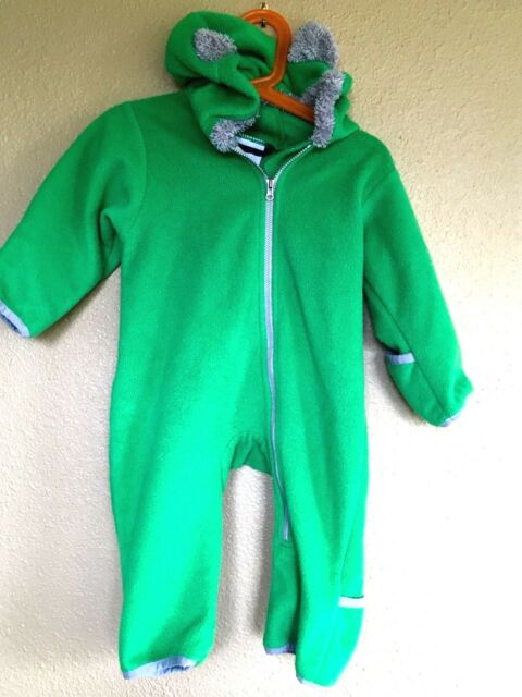 7010959eb72d Columbia Green Fleece One Piece Snow Suit Bunting Ears Infant Size ...