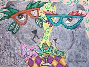 KERRY-BLUE-TERRIER-Masquerade-Art-Print-8x10-Signed-Artist-KSams-Dog-Collectible