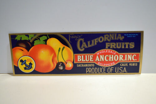 Blue Anchor Fruit Crate1940 Mint Label Look!
