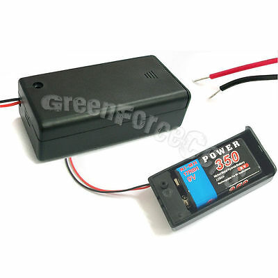 """1 x Battery Holder Case box for 1 9V Volt Size battery w On/Off Switch  6"""" Lead"""