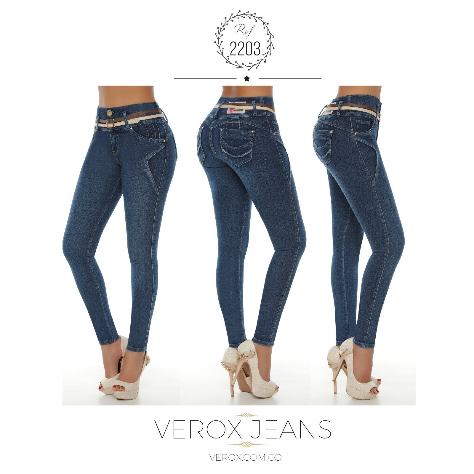 Verox Jeans colombianos butt lifter fajas colombianas jeans levanta cola 2203