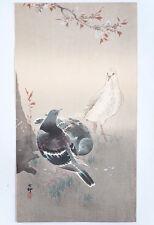 Original Japanese Woodcut Print Ohara Koson 'Three Pigeons and Cherry Blossom'