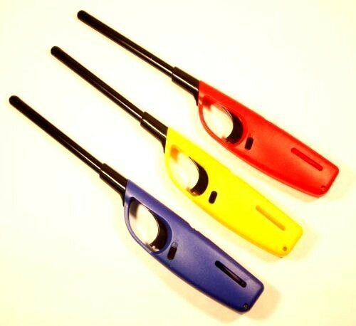 3X REFILLABLE LONG REACH FLEXIBLE CLIPPER FIRE LIGHTER FOR GAS HOB COOKER OVEN
