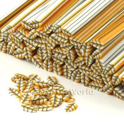 dnc56 3x Handmade Skinless Orange Canes Nail Art
