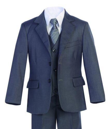 Magen Boys Dark Gray suit 5 pc set coat,vest,pant,shirt,clip tie BS-30A S 1-18