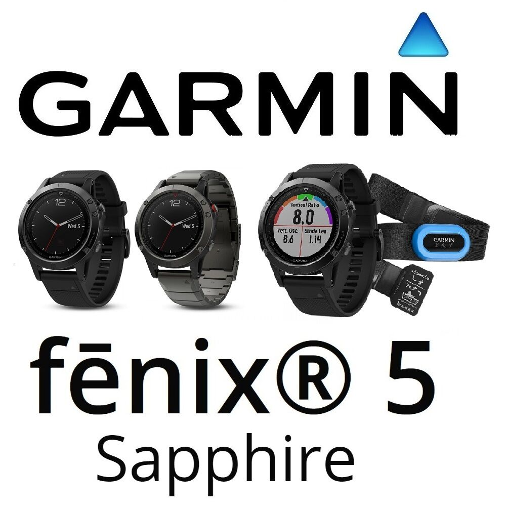 Garmin Fenix 5 Zafiro Multi Sport Fitness Corriendo De la Muñeca Reloj HR 47 MM