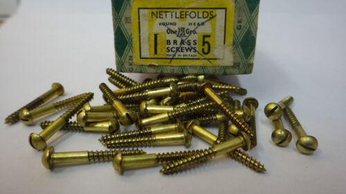 """25 x NETTLEFOLDS 1/"""" x 5 BRASS ROUND HEAD SCREWS RESTORATION GKN SLOTTED NOS"""
