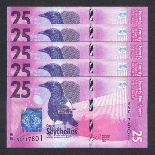 2016 SEYCHELLES 25 RUPEES P-48 UNC LOT 5 PCS /> MAGPIE ROBIN BLUE PIGEON