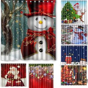 Image Is Loading Bathroom Waterproof Shower Curtain Christmas Snowman 3D Printed