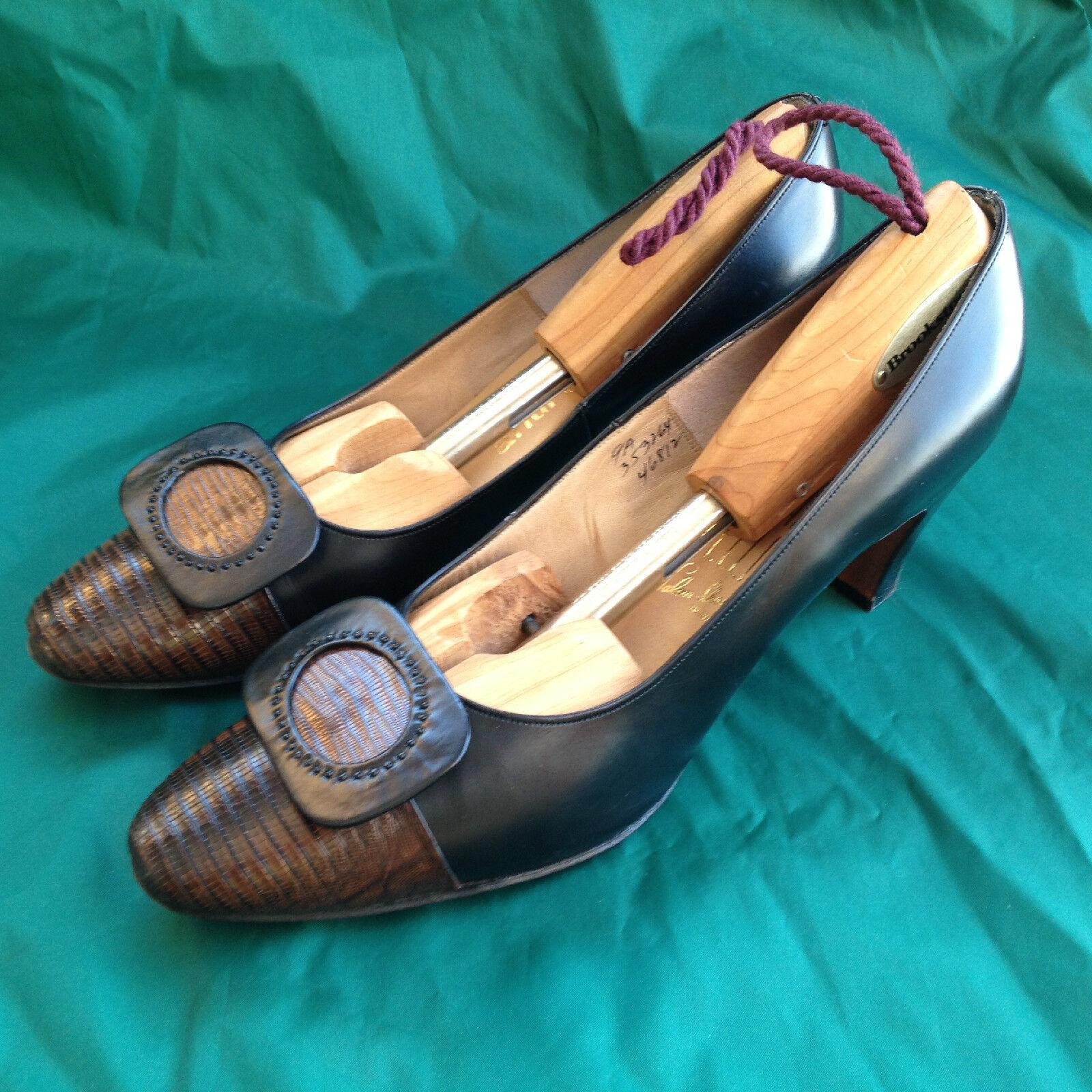 Vintage Andrew Geller Heels Packard Rellin Salon RARE Leather Snake shoes 9 A.