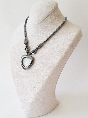 blutstein Halskette,kette Mit Herz In Herz Form Weiß Magnetverschlus Hämatit Um Das KöRpergewicht Zu Reduzieren Und Das Leben Zu VerläNgern