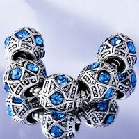 Blue Crystal european Beads 5pcs Charm Tibetan silver Fit DIY Bracelet