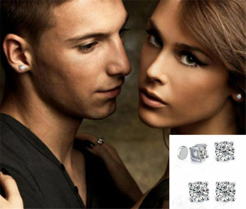 1Pair 6mm Unisex Round Clear Crystal Magnetic Clip On Stud Earring For Birthday