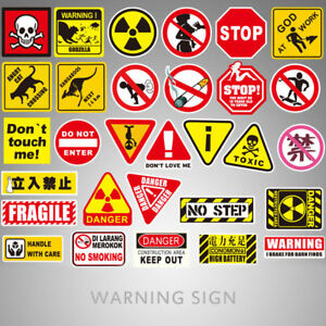Details About 10 50pcs Warning Stickers Danger Waterproof Decal Sticker For Diy Laptop Luggage