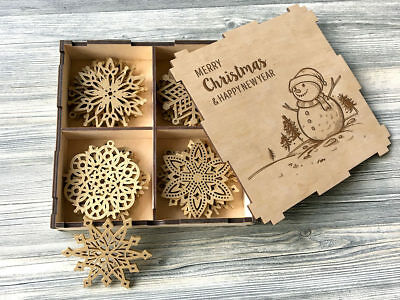 Wood Christmas Decorations.Set Of 8 24x Wooden Christmas Decorations Ornament Snowflakes Wood Xmas Gift Box Ebay