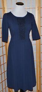 Boden-Isabella-para-Mujer-Vestido-con-cuentas-de-punto-Azul-Marino-Ponte-ex-Estado-US-8-de-largo