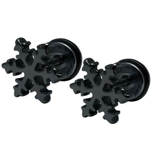 1 Paire Fakeplugs Neige Cristal En Acier Inoxydable Paillettes Noir Argent Neige Flocon