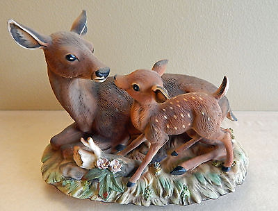 Masterpiece by HOMCO Doe and Fawn Deer Bisque Porcelain Figurine Very Nice!!