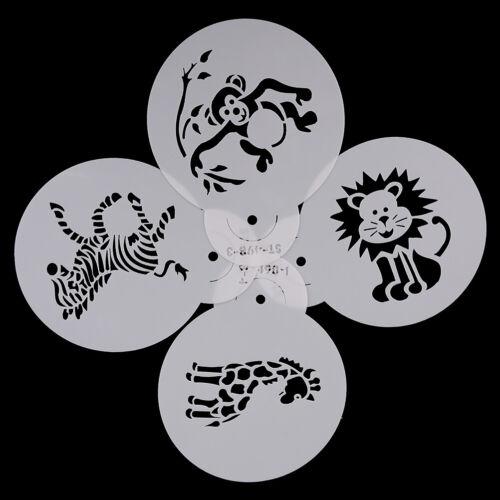 4pcs Animals Cookie Stencil for Cake Decor Sugarcraft Fondant DIY Mold Sten UQ
