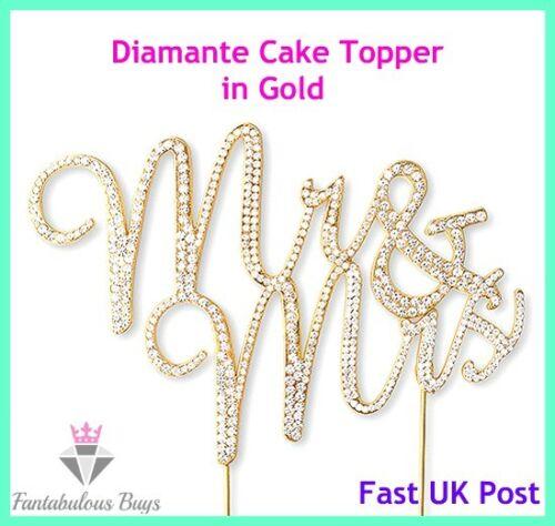 Mr /& Mrs Gold Plated Clear Diamante Rhinestone Gem Cake Wedding Topper Married